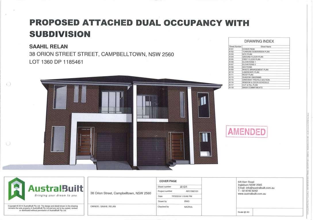 DA Approved for Duplex Macarthur Heights Estate Campbelltown