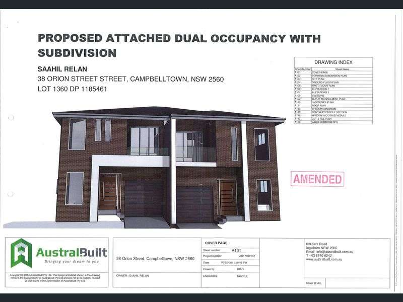 DA Approved for Duplex Macarthur Heights Estate Campbelltown